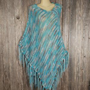 Turquoise Blue Gray Hand Knitted Ombre Poncho